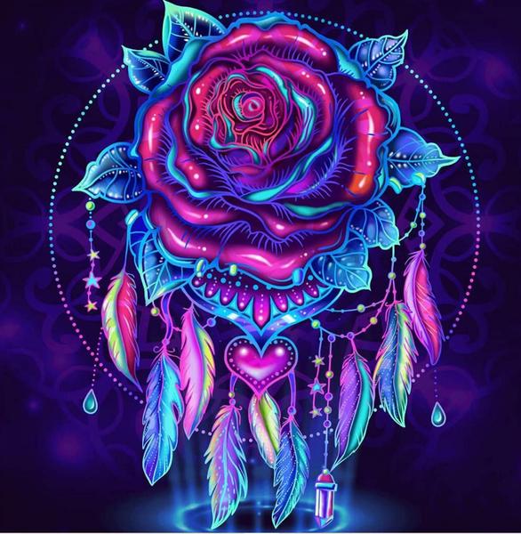 "9/2: Rose Dreamcatcher (Full drill - round diamonds) 12""x12"" (#570)"