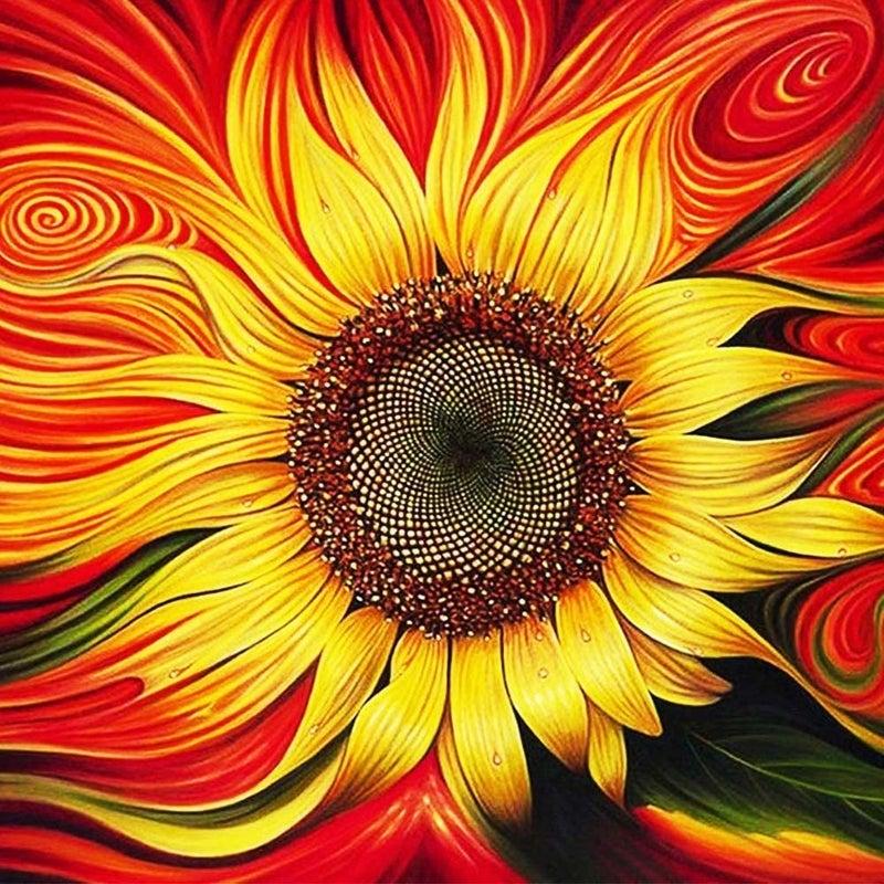"""9/14: Wild Sunflower (Full drill - round diamonds) 9.5""""x9.5""""(#1434 )"""