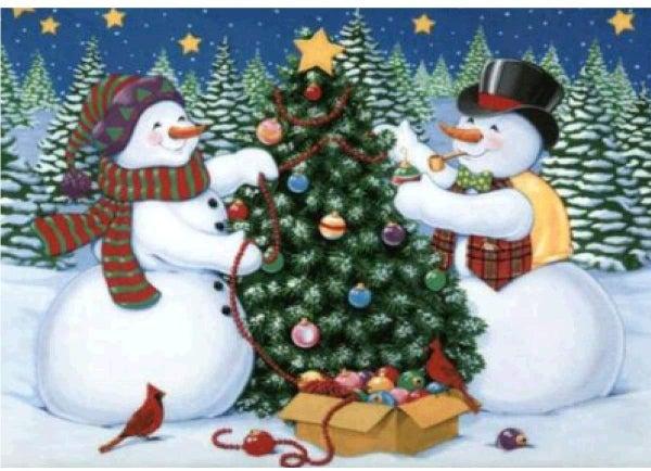 """5/8: Snowmen and Christmas Tree (Full drill - round diamonds) 9.5""""x13.5"""" (#888)"""