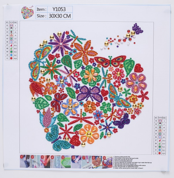 """9/11 8PM DEAL: Butterfly Floral Heart (Partial) 9.5""""x9.5"""" (#573)"""