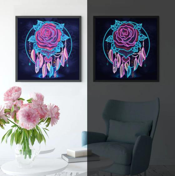"""8/26: Rose Dreamcatcher Glow in the Dark (Partial) 10""""x10"""" (#215)"""