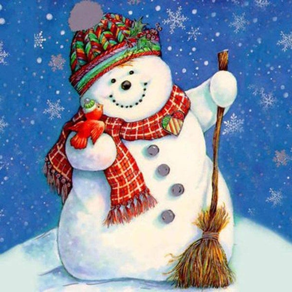 "8/7: Cute Snowman (Full drill - round diamonds)  9.5""x9.5""(#1579)"