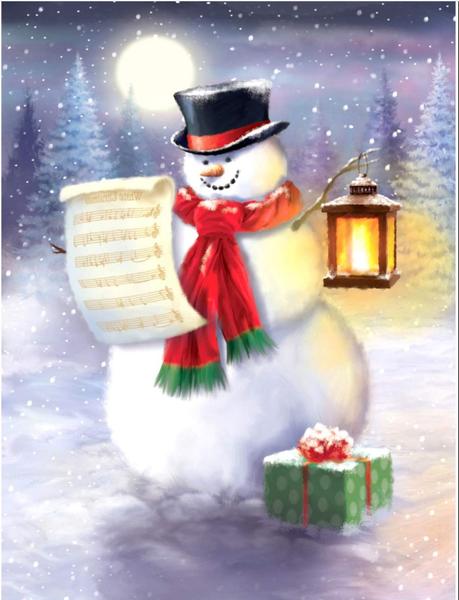 "Snowman (Full drill - round diamonds) 10""x14"" (#47)"