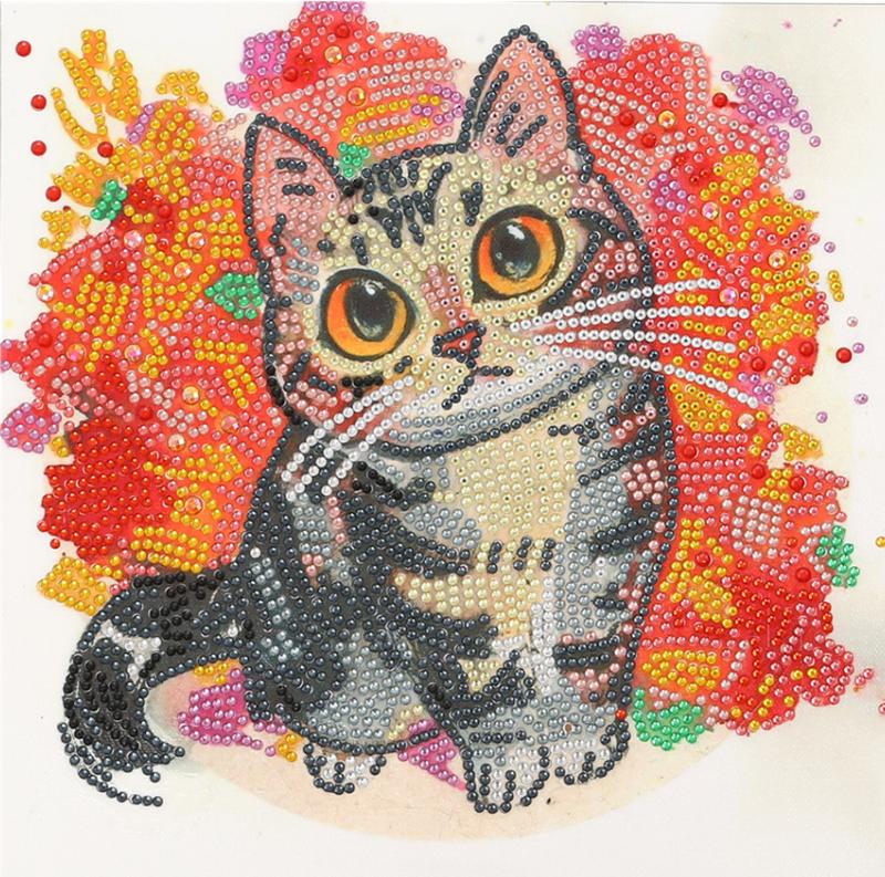 """9/21: Cat on Orange (Partial) 9.5""""x9.5"""" (#1543)"""