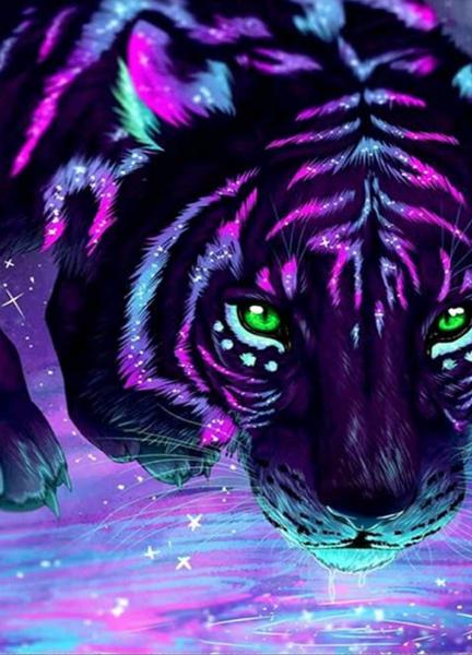"""6/5: Colorful Tiger (Full drill - round diamonds) 9.5""""x13.5"""" (#402)"""
