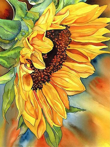 """5/20: Sunflower (Full drill - round diamonds) 10""""x13.5"""" (#86)"""