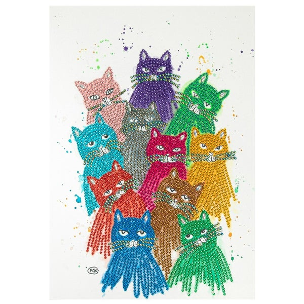 """9/16: Colorful Cats (Partial) 9.5""""x11.5"""" (#1504)"""