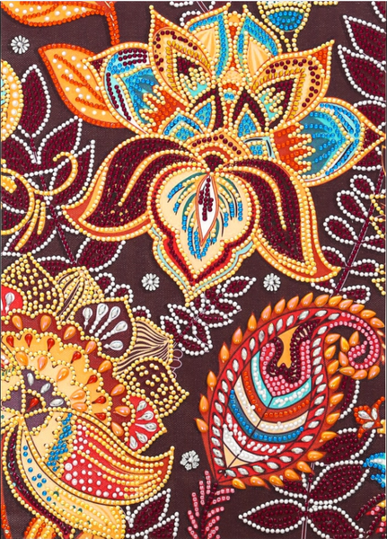 """9/21: Maroon Mosaic Flowers (Partial) 9.5""""x11.5"""" (#1655)"""