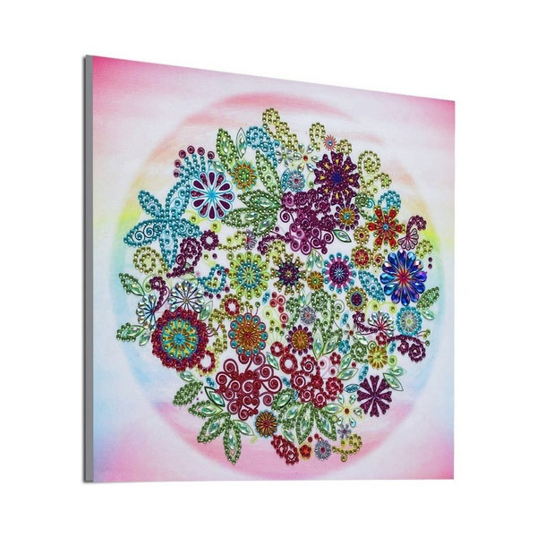 """9/11 5PM DEAL: Circle of Flowers (Partial) 9.5""""x9.5"""" (#1692)"""
