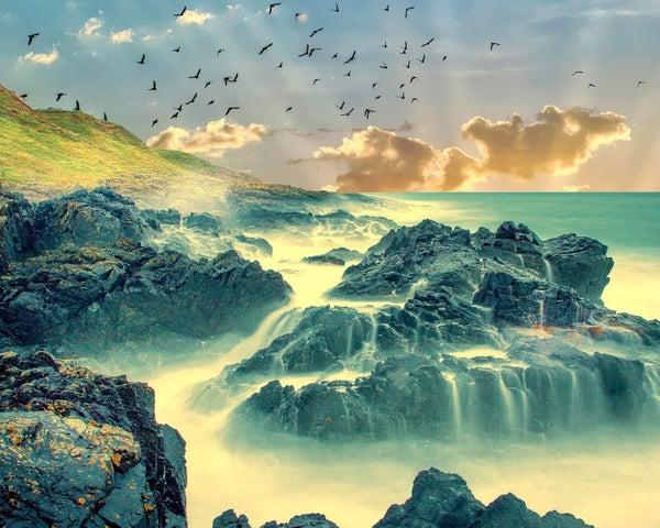 "9/4: Full drill - Square Diamonds - Amazing Seaside Scene - 16""x20"" (GF-1613)"