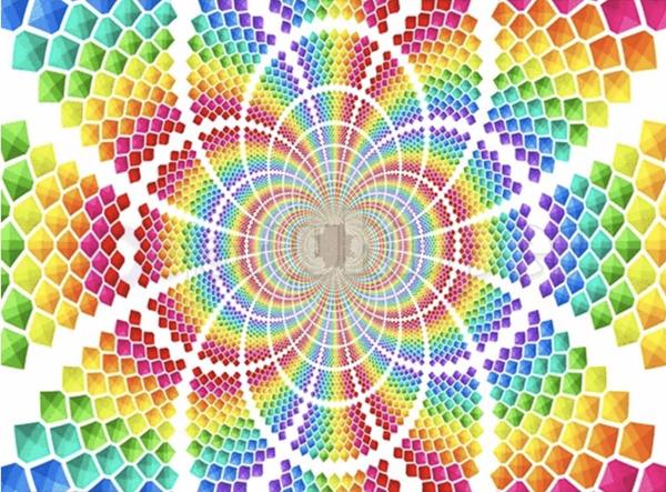"""3/7: Rhinestone Rainbow Spiral (Full drill - round rhinestone diamonds) 16""""x20"""" (#298)"""