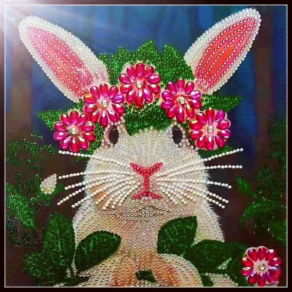 """9/2: Flower Crown Bunny (Partial) 9.5""""x9.5"""" (#20)"""