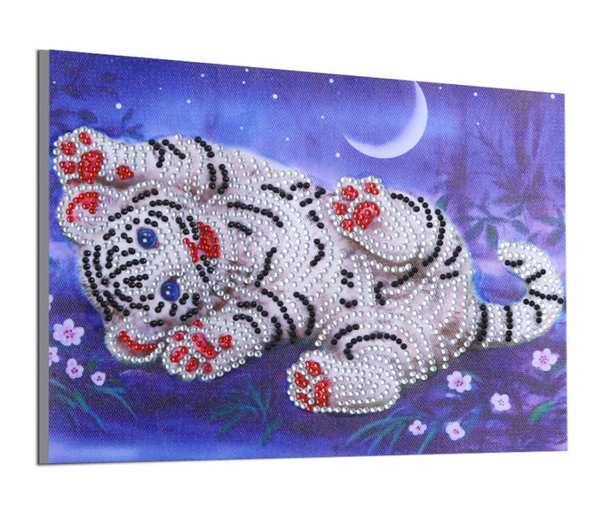 """9/9: Playful Baby Tiger (Partial) 7.5""""x9.5"""" (#I)"""