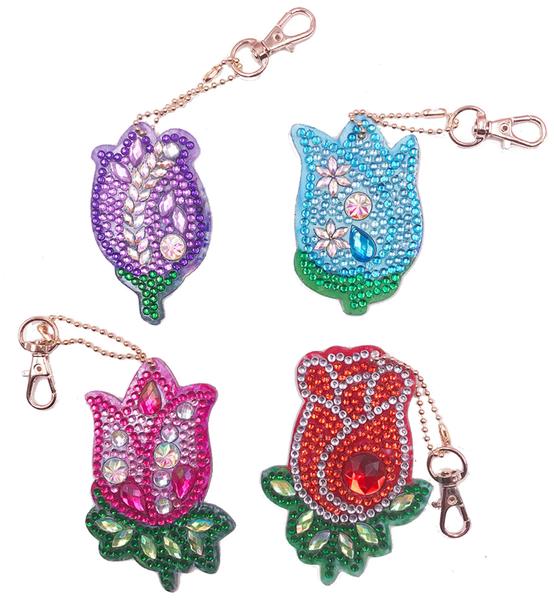 4/6: Flower Keychains - Set of 4 (#1458)