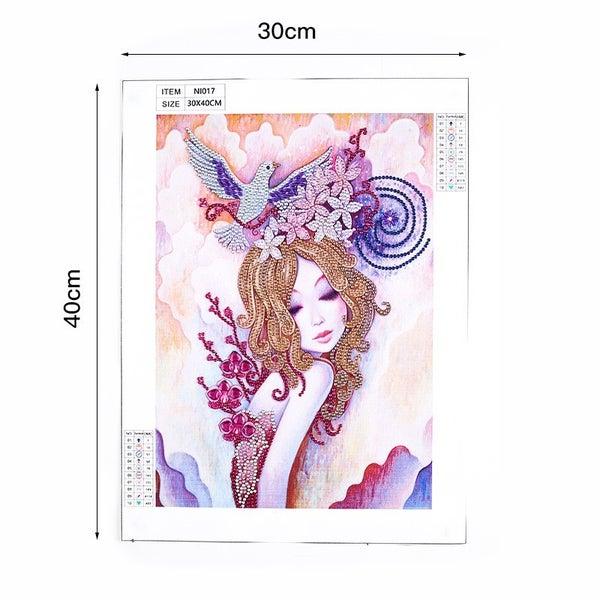 """9/16: Dove Girl (Partial) 9.5""""x11.5"""" (#902)"""