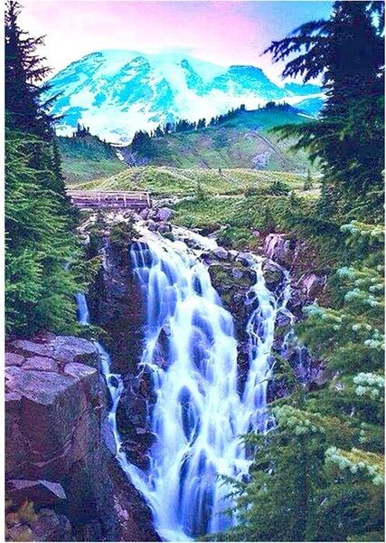 """8/17: Pretty Waterfall (Full drill - SQUARE diamonds) 9.5""""x13.5"""" (#1643)"""