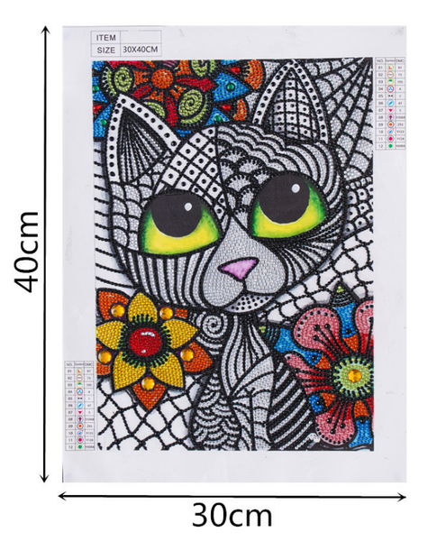 """9/12: Black and White Cat (Partial) 9.5""""x11.5"""" (#1573)"""
