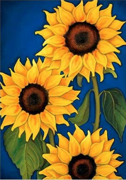 """4/1: Sunflowers (Full drill - round diamonds) 9.5""""x13.5"""" (#819)"""