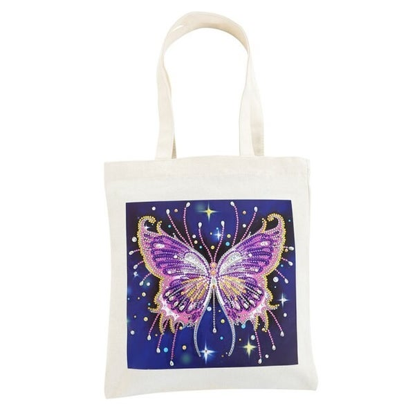 5/25: Purple Butterfly Canvas Tote (#566)