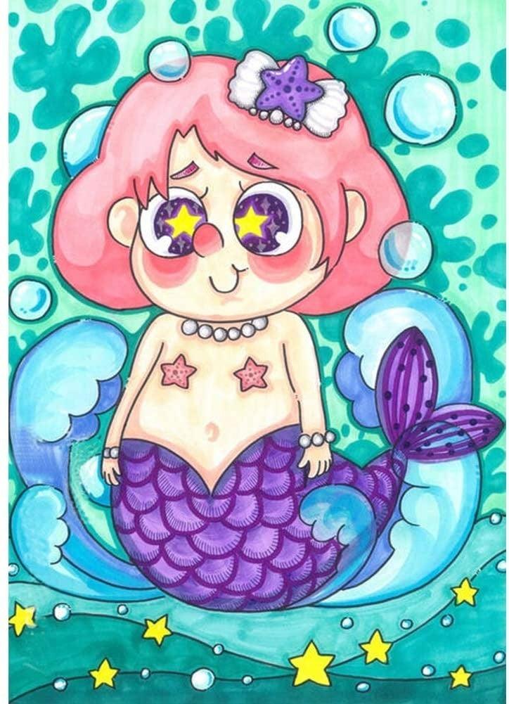 """8/31: Cute Mermaid (Full drill - round diamonds) 10""""x14"""" (#226)"""
