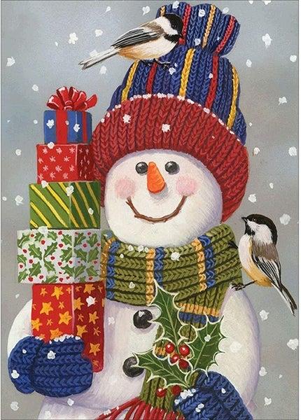 "7/31: Snowman with Presents (Full drill - square diamonds) 13.5""x9.5""(#1141)"