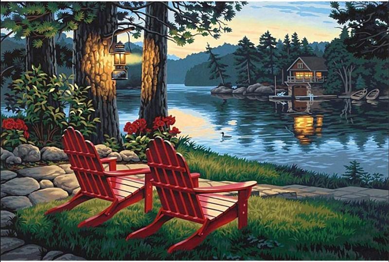 """7/10: Lake Chairs (Full drill - round diamonds) 10""""x14"""" (#523)"""