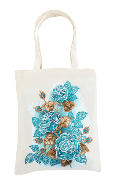 5/30: Blue Flowers Canvas Tote (#45)