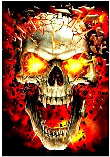 "5/28B: Flaming Skull (full drill - round diamonds) 9.5""x13.5"" (#609)"