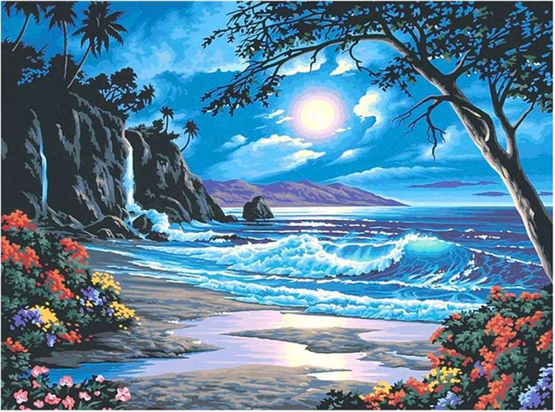 "7/10: Night Beach (Full drill - SQUARE Diamonds) 16""x20"" (#336)"