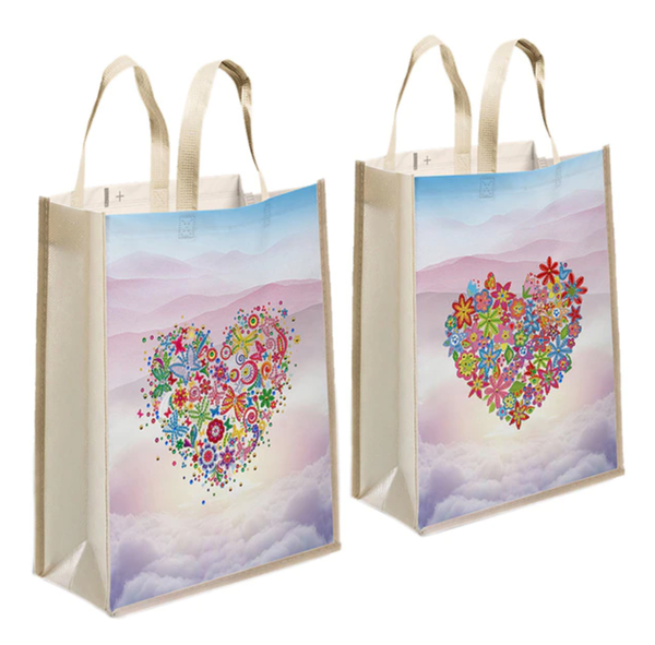4/8: SET of 2 Heart Tote Bags (#1165)