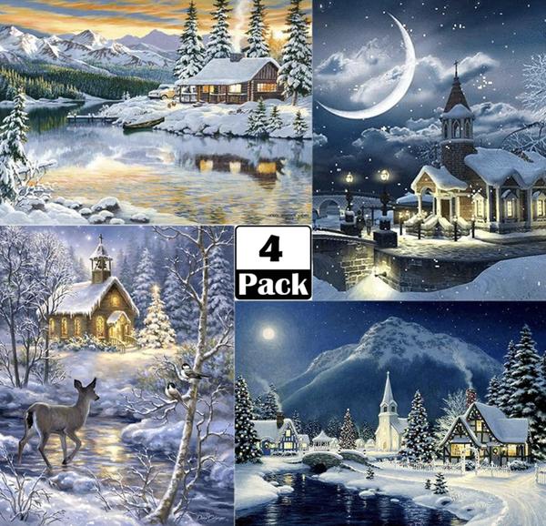 "8/19: CHRISTMAS Winter Scenes - Set of 4 (Full drill - round diamonds) 12""x16"" each (#686)"