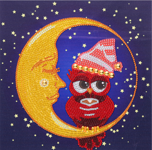 """9/21: Owl on the Moon (Partial) 9.5""""x9.5"""" (#1506)"""