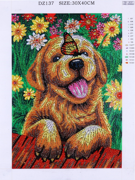 """9/9: Dog with Butterfly (Partial) 11.5""""x9.5"""" (#744)"""