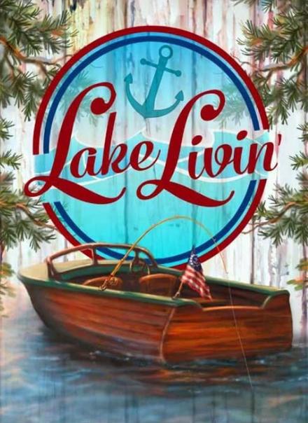 """9/21: Lake Living (Full drill - round diamonds) 9.5""""x13.5""""(#366)"""