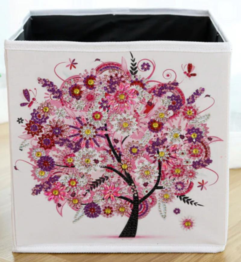 4/13: Organizer Storage Container Box - Pink Tree (#1112)