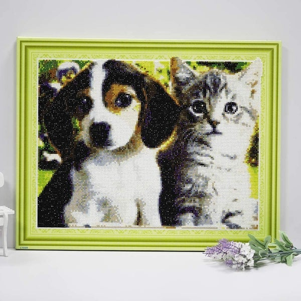 """9/23: Dog and Cat (Full drill - Canvas Wrapped on Frame) 12.5""""x17.5"""" (#804)"""