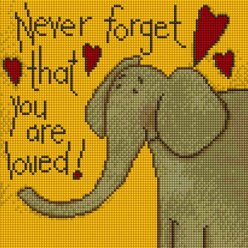 """8/29: Never Forget Elephant (Full drill - round diamonds )11.5""""x11.5"""" (#1721)"""
