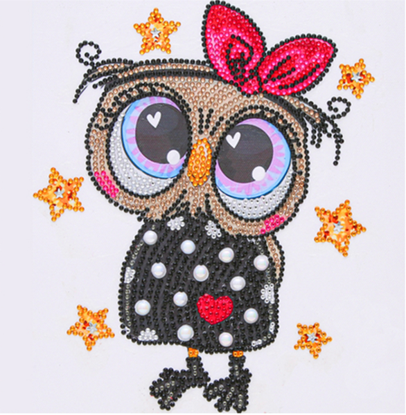 "9/14: Cute Owl in Dress (Partial) 9.5""x9.5"" (#1328)"