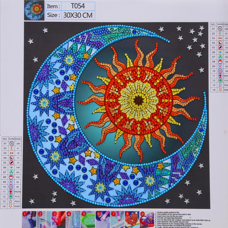"""9/21: Sun/Moon (Partial) 9.5""""x9.5"""" (#1357)"""