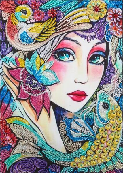 "9/19: Bird and Fish Woman (Partial) 9.5""x11.5"" (#1657)"