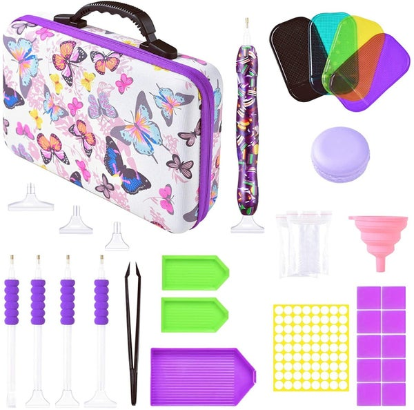 9/19: 60 Slot Diamond Storage Case - Butterfly Design - With Tons of Goodies Inside!! (#787)