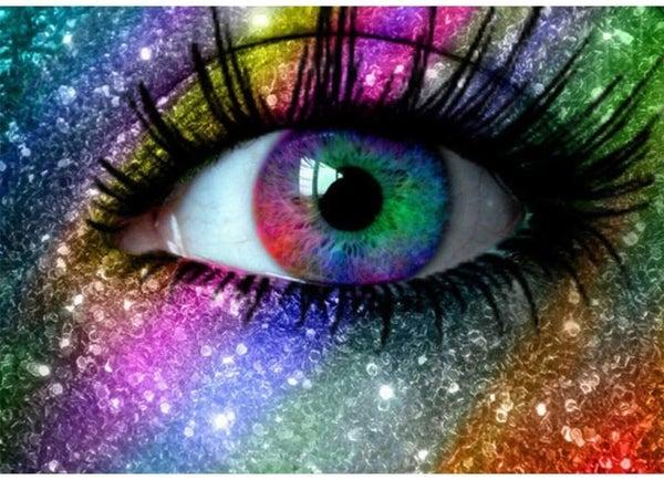 "6/29: Colorful Eye (Full drill - round diamonds) 9.5""x11.5"" (#112)"