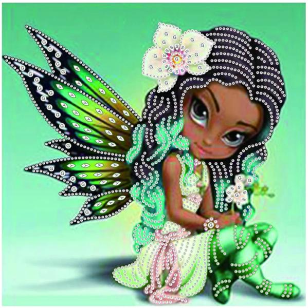 """8/26: Green Fairy (Partial) 9.5""""x9.5"""" (#976)"""
