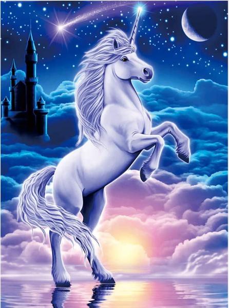 """7/31: Unicorn Castle (Full drill - round diamonds) 12""""x16"""" (#262)"""