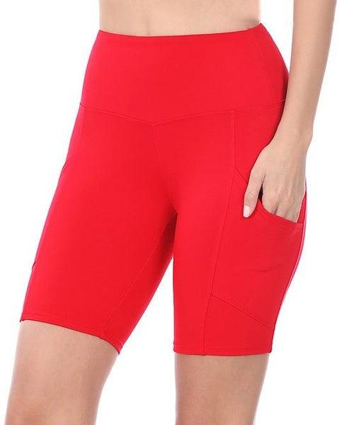 Ruby Red High Waist Pocket Bike Shorts For Women