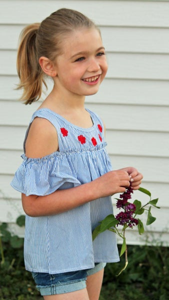 Roses Are Red Cold Shoulder Top For Girls *Final Sale*
