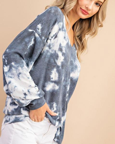 Blue Gray Tie Dye Top For Women