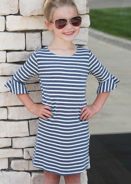 Navy Stripe Bell Dress For Girls