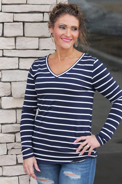 Long Sleeve Everyday Navy Stripe Top For Women *Final Sale*