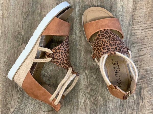 Corkys Browning Cheetah Wedge Sandal For Women